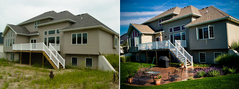stamped concrete projects - before and after - hoot landscape and design